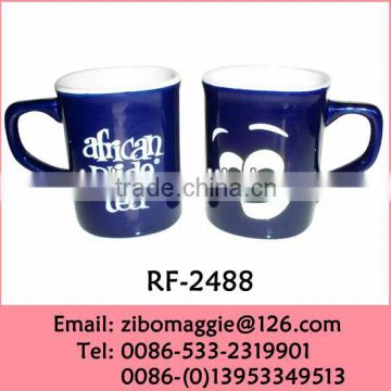 Sqaure Shape Ceramic Colored Promotional Cup with Custom Design for Eco Ceramic Tea Cup