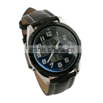 New Classic Design Mens Man Black Face Army Military Leather Big Dial Watch