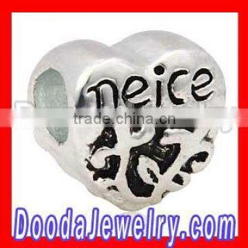 Wholesale European style silver plated Neice beads charms
