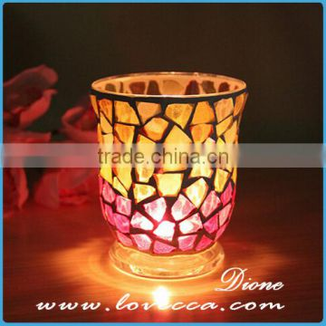 Fine quality top grade glass material mosaic candle holder set