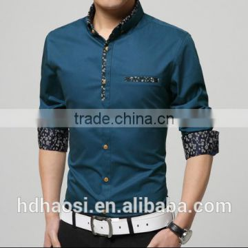 100% Mercerized cotton mens shirts with printed patchwork design wash and wear dress shirts long sleeve dress shirt