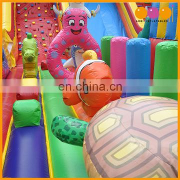 AOQI amusement park inflatable undersea fun city, inflatable obstacle course