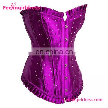 Purple Satin Overbust Girls Sexy Dot Corset
