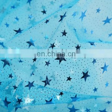 2015 Wholesale Frozen Queen Elsa Dress Material Printed Bronzing Organza Fabric Nylon Fabric