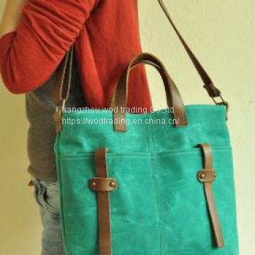 waxed canvas tote messenger bag with leather shoulder