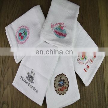 100% cotton white embroidery kitchen towels