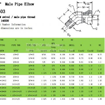 45°Male Pipe Elbow 1503
