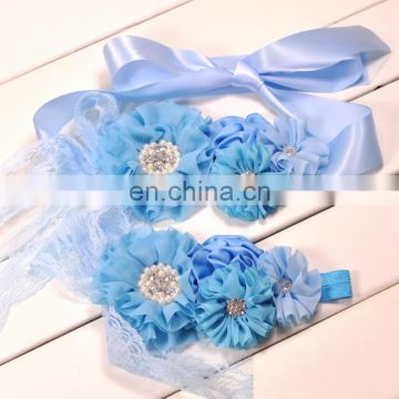 Boho Sash Belt Headband Sets With Rhinestone Layered Flower Gift Blue Floral And Pearl Baby Headband
