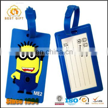 2016 Popular factory product cute minions soft pvc luggage tag