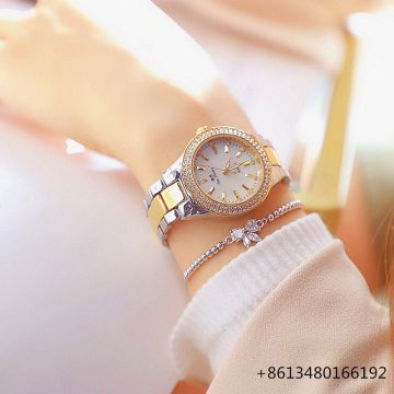 Women Luxury Watch Rose Gold Diamond Dress Watches Ladies Stainless Steel Fashion Female Rhinestone Bling Quartz   Watch Gift