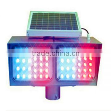 Wholesale double sides double sets red and blue LED flashing IP68 waterproof solar traffic strobe light