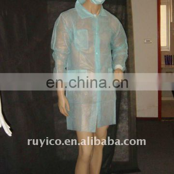 non-woven lab coat with knitted cuff