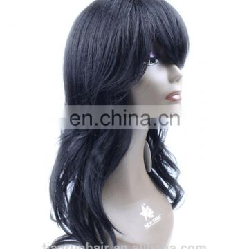 aliexpress cheap fashion long natural black heated resistant fiber cosplay synthetic hair wig