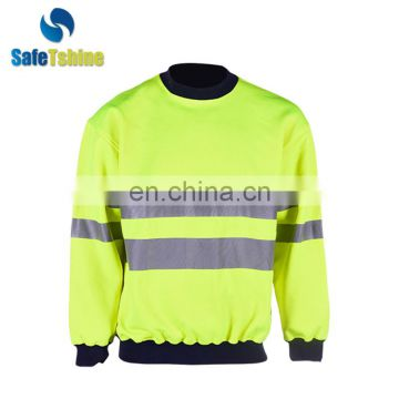 Fashion rib cuffs fluorescent strip sweatshirt for sale