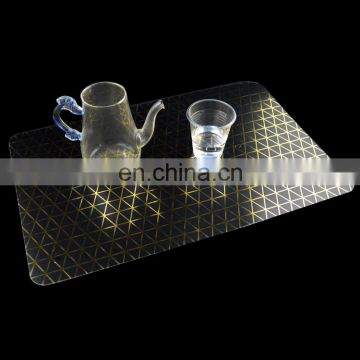 Plastic made custom printed gold desktop placemats wholesale