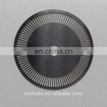 Etching stainless steel optical encoder disk with company logo