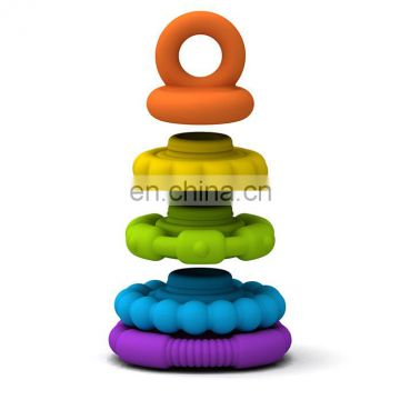 Silicone Ring Rainbow Stacker Tower Toy - 5piece Stackable Teether, FDA Grade BPA Free Approved