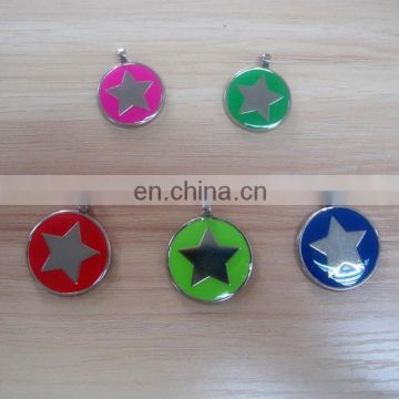 round shaped with star logo epoxy metal dog tag pet id tag