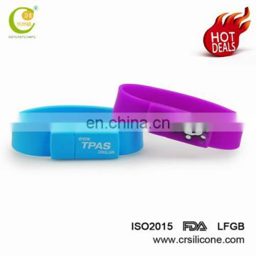 Bulk Waterproof Custom Silicone Usb Flash Drive Wristband