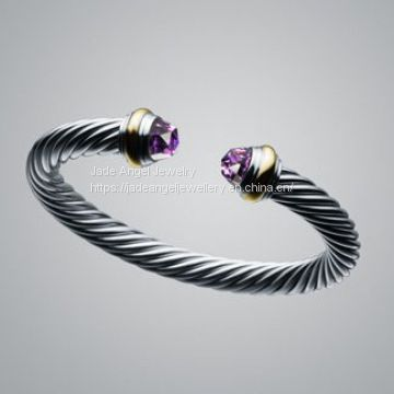 Sterling Silver Inspired DY 7mm Cable  Amethyst Color Classics Bracelet