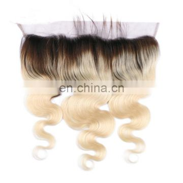 "fast delivery virgin brazilian 13*4"" lace frontal blonde color closure"