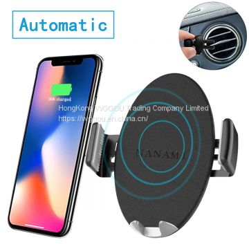 Automatic Sensor Wireless Car Charger, Qi Car Charger Mount, one-Touch Qi Fast Wireless Charging Air Vent Car Phone Holder for iPhone Xs Max/XR/XS/X/8 Plus, Samsung Galaxy S9 Plus/S8/S8 Plus/Note 9/8
