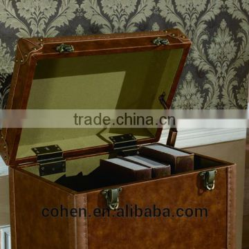 2016 Hot sale high quality China supplier handcraft high end retro vintage storage wine cabinet covered by top grain leather