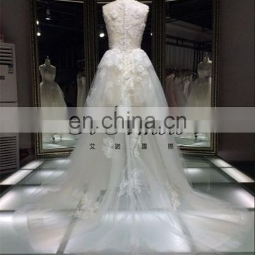 Bee Hive Price Alibaba Express Champagne Luxurious Empire Lace Appliqued Bridal Gown Wedding Dress