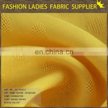 2014 light and soft fabric,100%rayon fabric,yellow rayon jacquard fabric