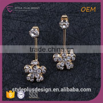 E74842I01 Feather Heavy Ear Cuff Earrings For Women Gold Plating Flower Clip-on CZ Stones Full Crystal Earring