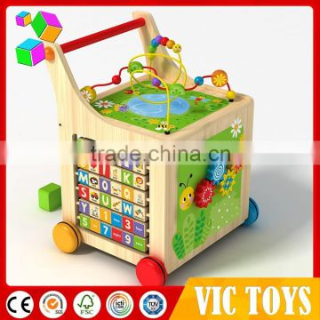 2016 Alibaba Best Selling Baby wooden toy around beads Wire maze Colorful Educational game