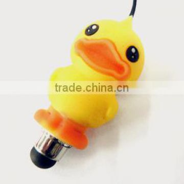 Mini cartoon design touch screen pen with dustproof plug