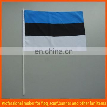custom blue black white rectangle shape hand flag