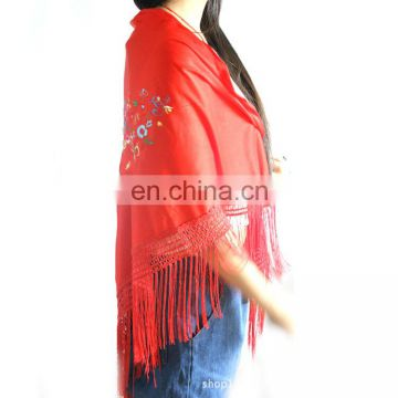 embroider triangle scarf with fringe 180*70cm lady's scarf woman triangular shawl triangle lace scarf