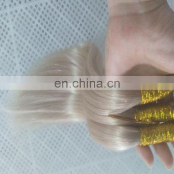 Blonde color nano ring hair extensions