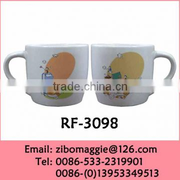 9oz Belly Shape Kids Daily Used Promotional Hot Sale Ceramic Soup Mugs Tableware