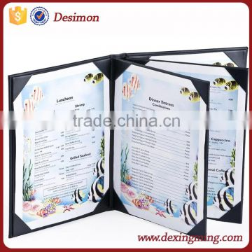 Wine List Menu Covers with 4-Panel, 4-Page View Design, Hardback Bar Menu Presenters with Angled Corners,