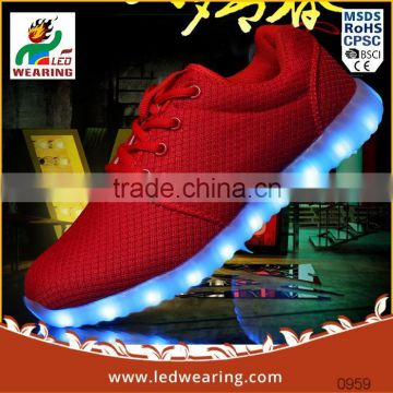 genuine leather Party Favor Event rubber insole material and lace-up style led light women shoes