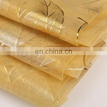 2015 Most Popular Chrildren Dress Material Leaves Bronzed Organza Flimsy Polyester Microfiber Fabric