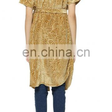 Beautiful velvet printed long top for women