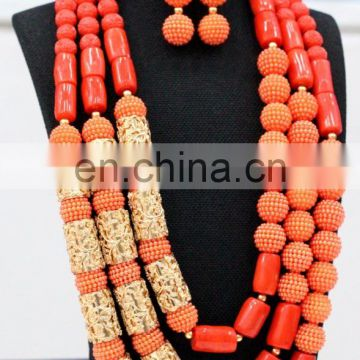 New design African fashion jewelry sets Dubai Wholesale Coral Jewelry Set both for men and women