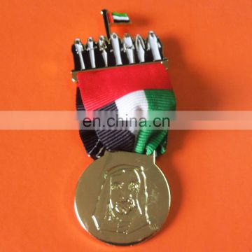 custom UAE sheikh and national emblem eagle with UAE national flag ribbon lapel pin badge