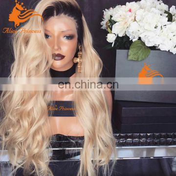 Long body wave human lace front wig with middle part natural hair ombre full lace wig body wave hair wig for women