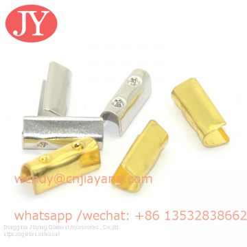 Dongguan Jiayang 4 dots metal crimps 20mm cord end Metal Fold Over Strong Crimp Head