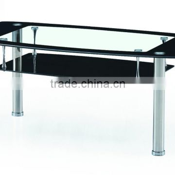 modern and black tempered glass and stainless steel leg coffee table