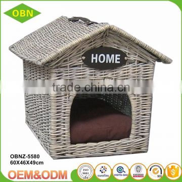 China hot sale exquisite modern design indoor woven wicker pet cat and dog house basket
