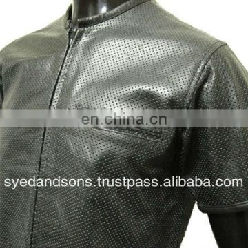 Leather Perforated Shirt Biker Shirt