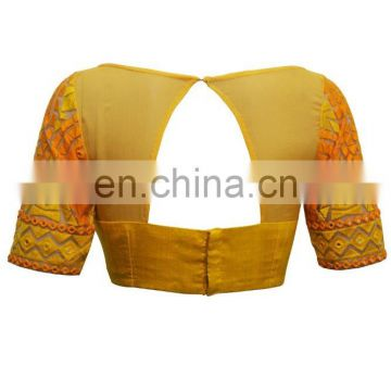 Yellow sheer and threadwork boatneck for women