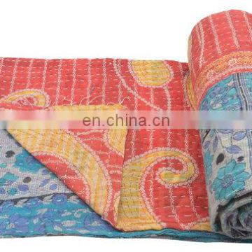 reversible cotton Quilted Indian Handmade old vintage kantha quilt Bedspread Vintage quilts blanket throw Bangali Gudari Decor