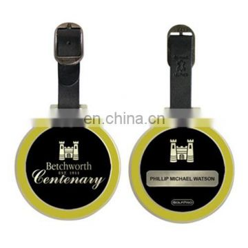 yellow and black metal round golf bag tags custom
